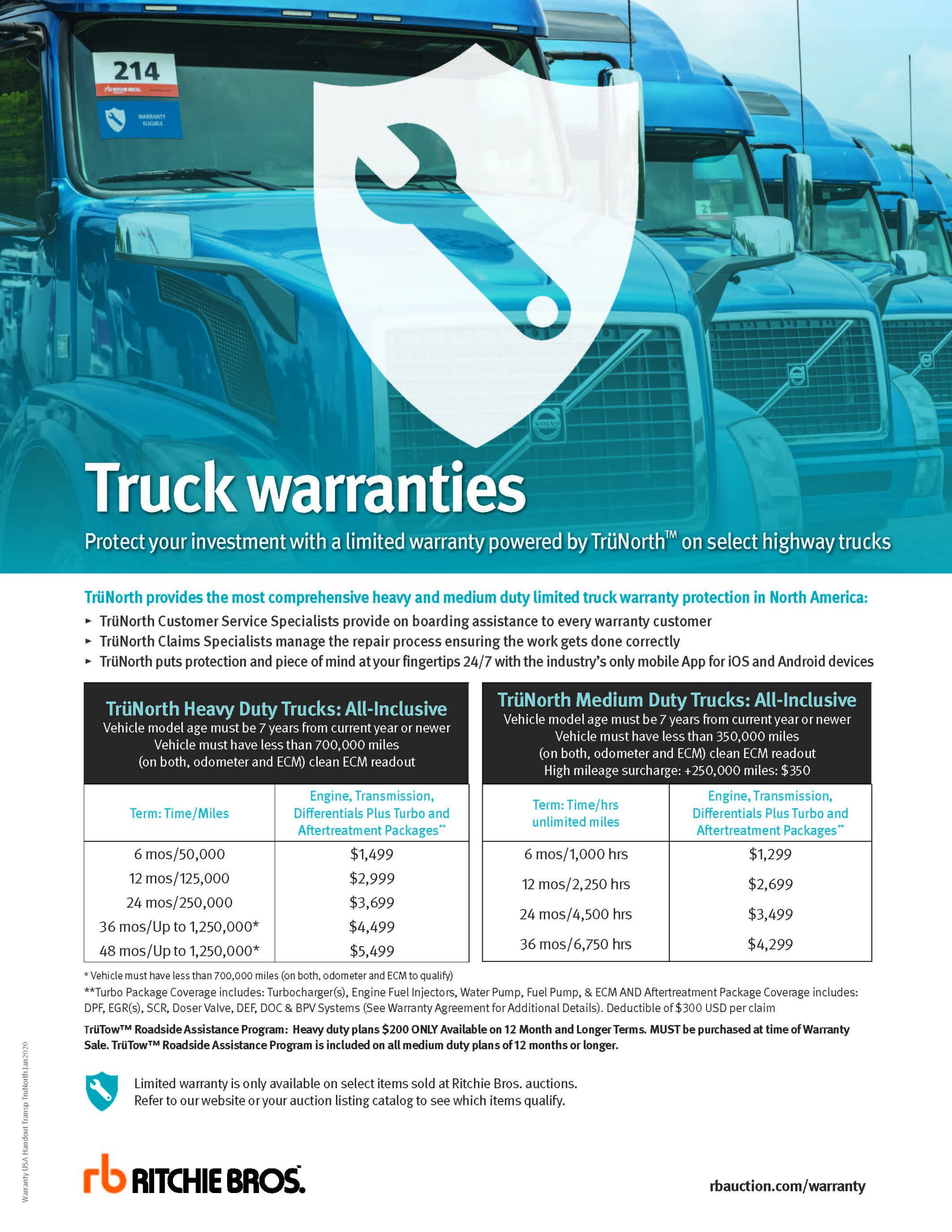 Truck warranties pricing sheet