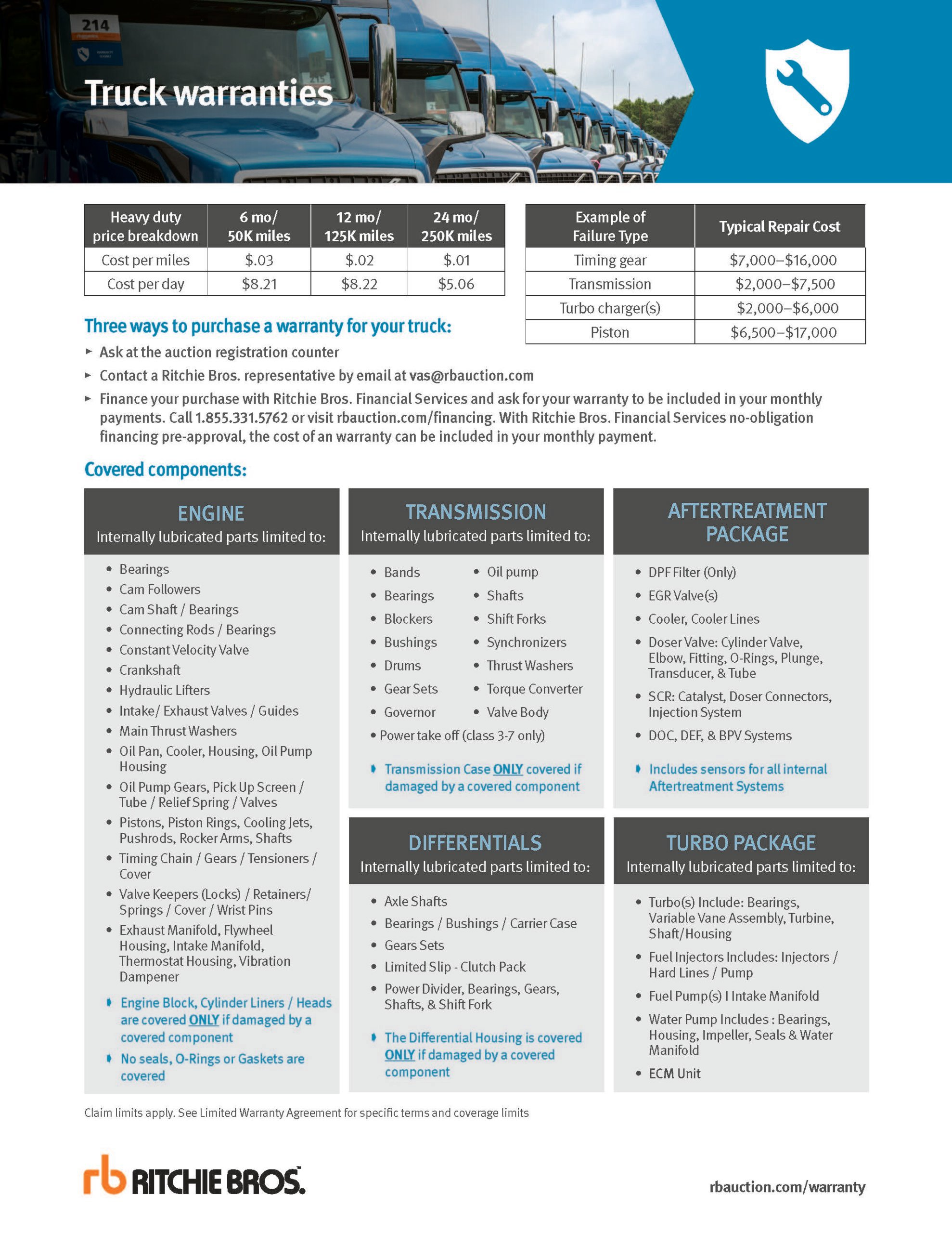 truck warranties pricing sheet 2